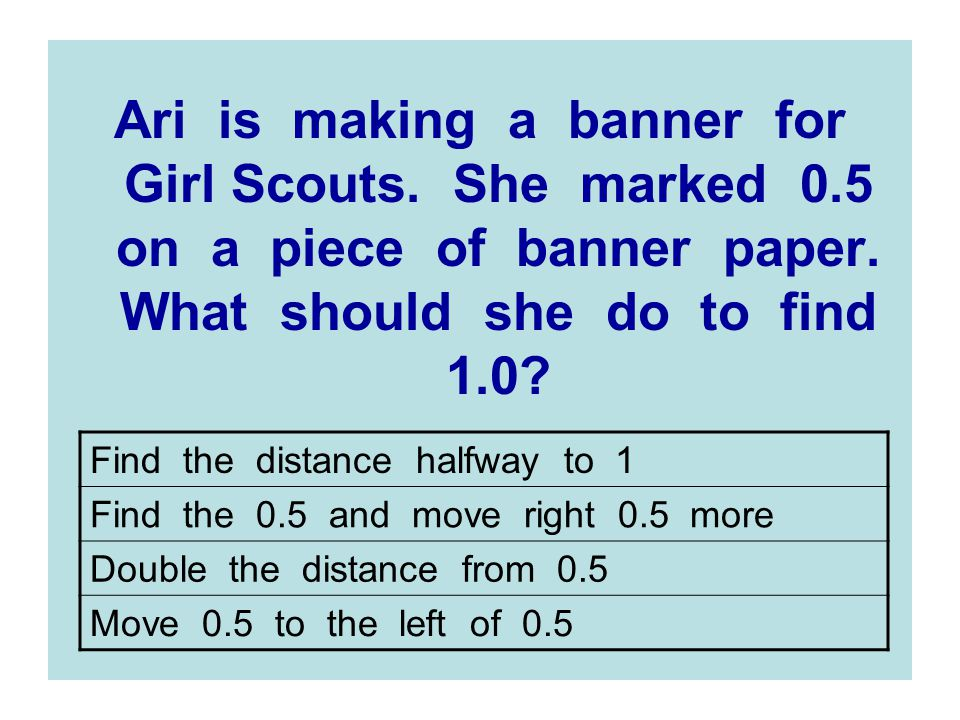 Ari is making a banner for Girl Scouts. She marked 0