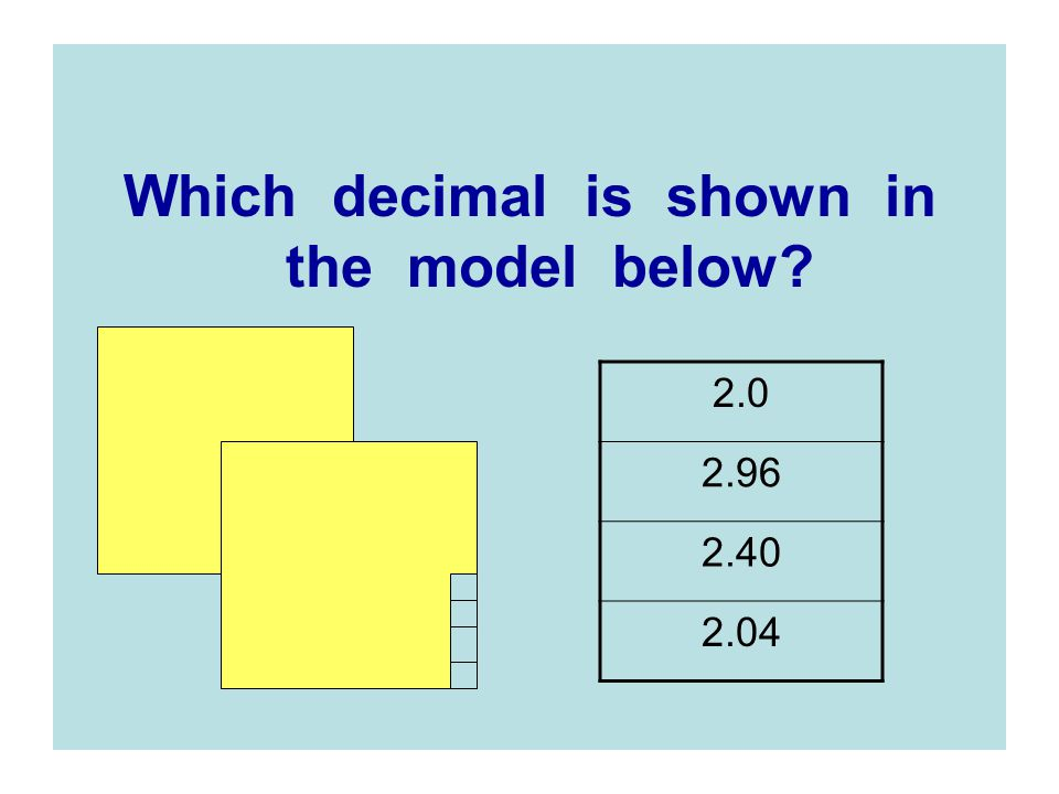 Which decimal is shown in the model below