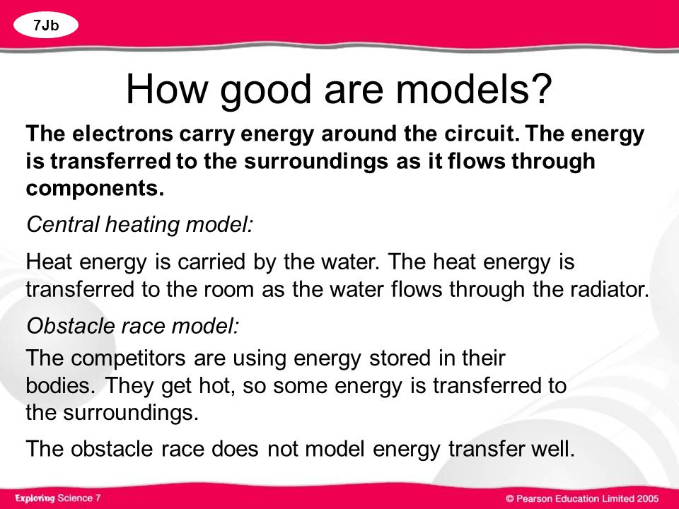How good are models The electrons carry energy around the circuit. The energy is transferred to the surroundings as it flows through components.