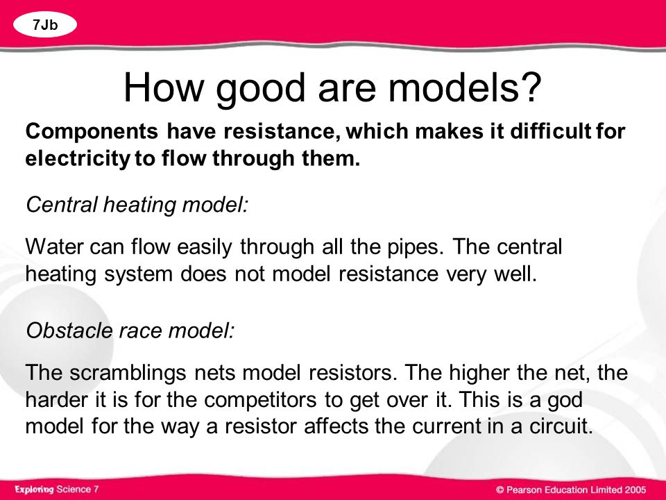 How good are models Components have resistance, which makes it difficult for electricity to flow through them.