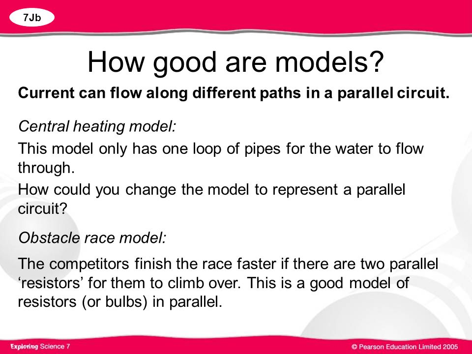 How good are models Current can flow along different paths in a parallel circuit. Central heating model:
