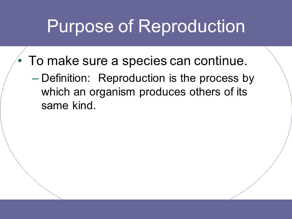 Purpose of Reproduction