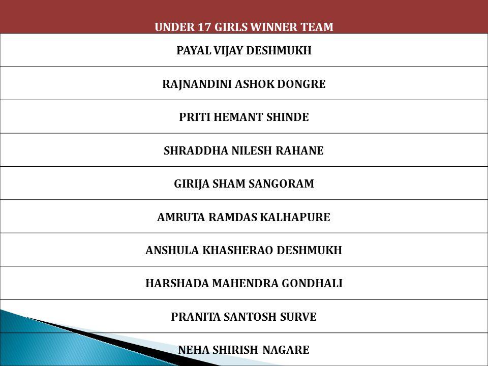 UNDER 17 GIRLS WINNER TEAM