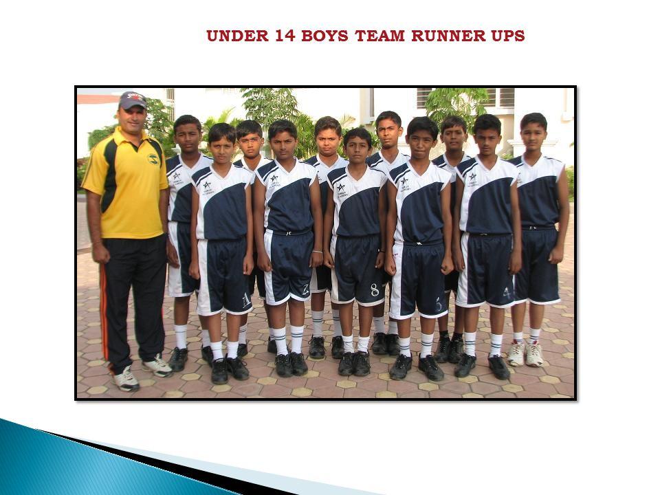 UNDER 14 BOYS TEAM RUNNER UPS