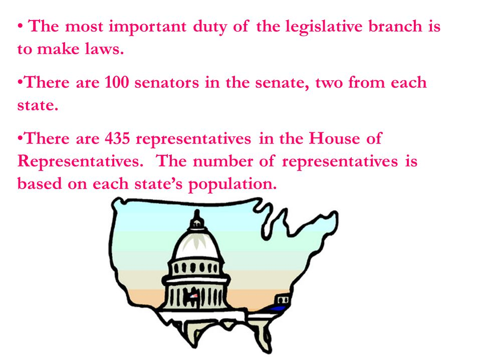 The most important duty of the legislative branch is to make laws.