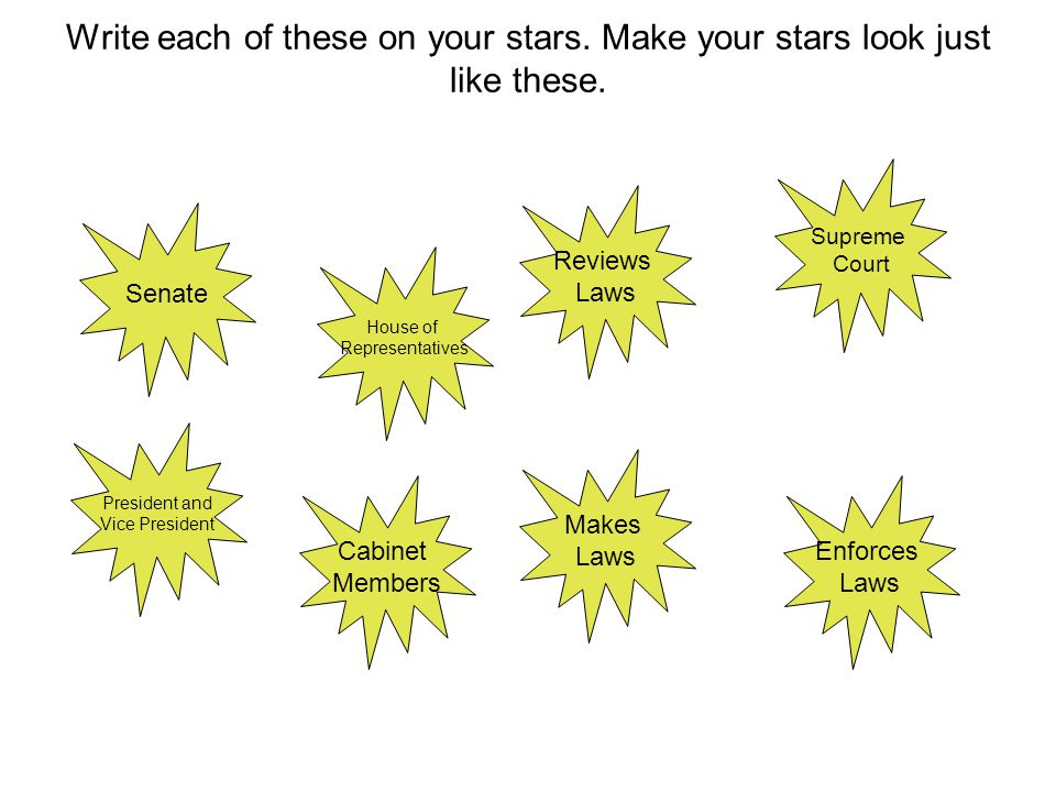 Write each of these on your stars. Make your stars look just like these.