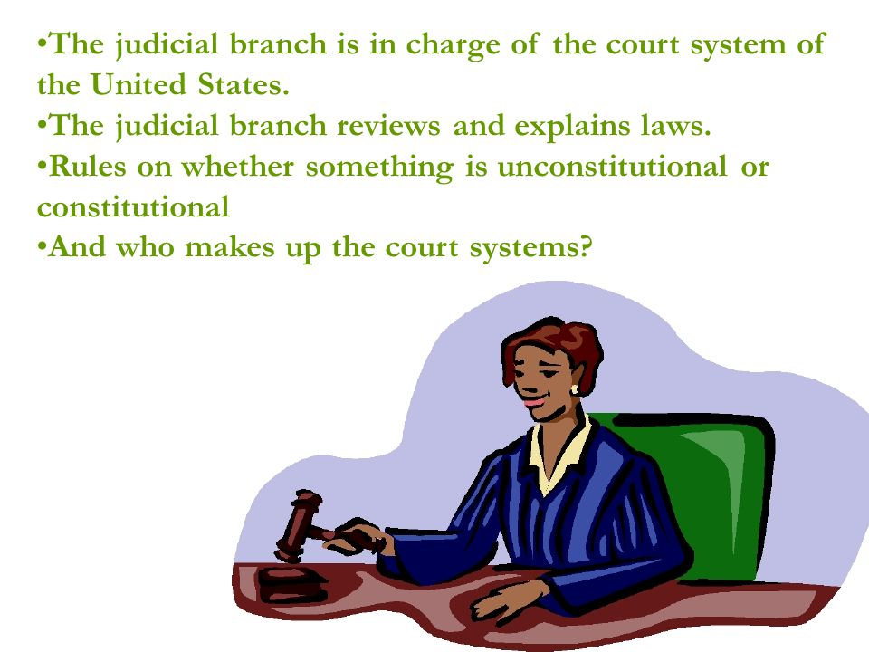 The judicial branch is in charge of the court system of the United States.
