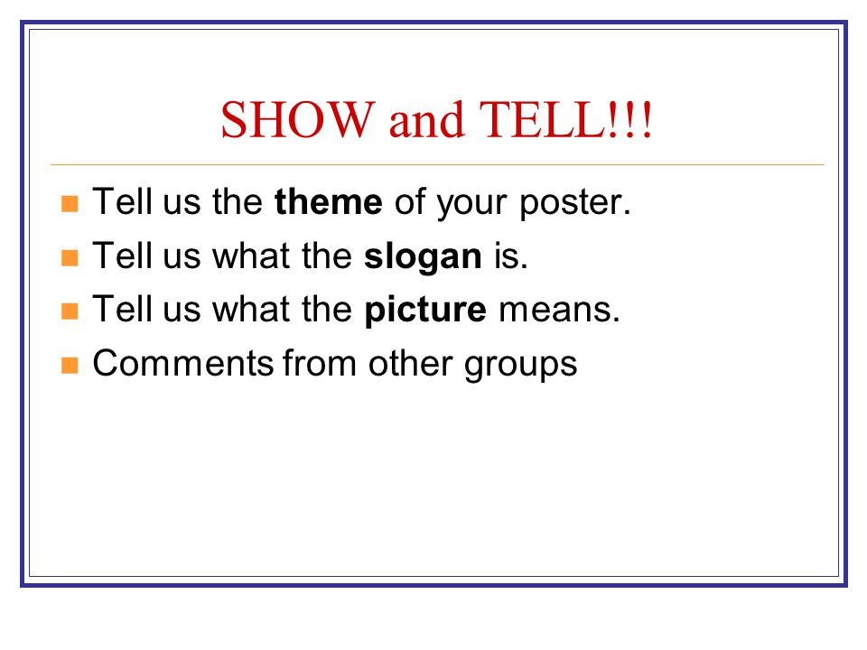SHOW and TELL!!! Tell us the theme of your poster.