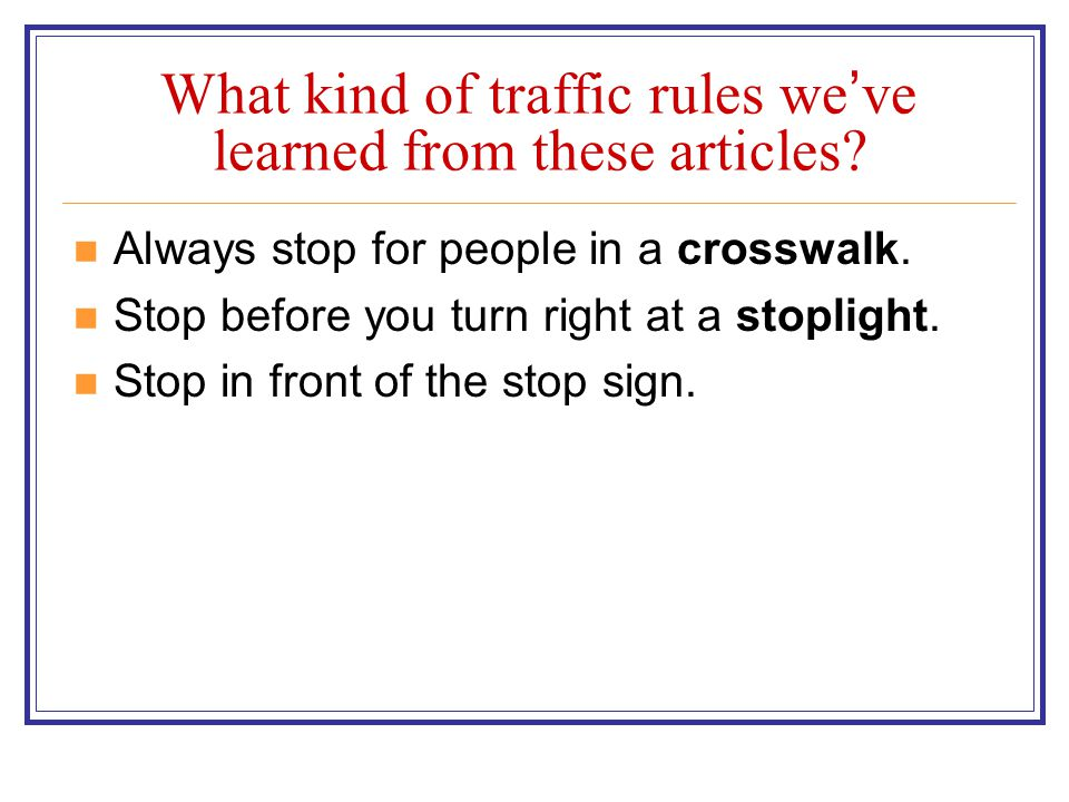 What kind of traffic rules we've learned from these articles