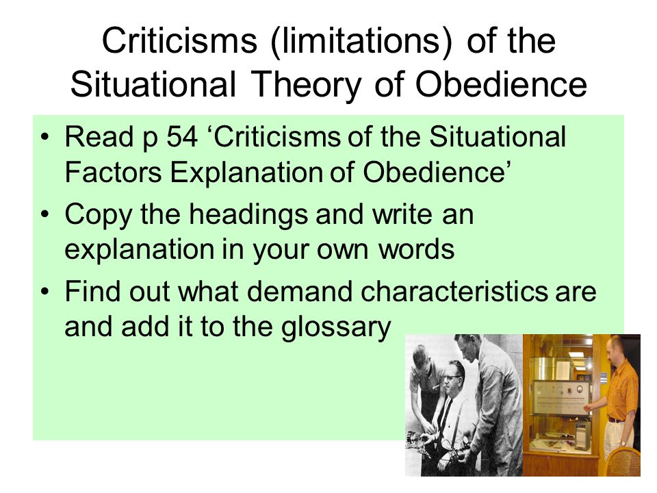 Criticisms (limitations) of the Situational Theory of Obedience