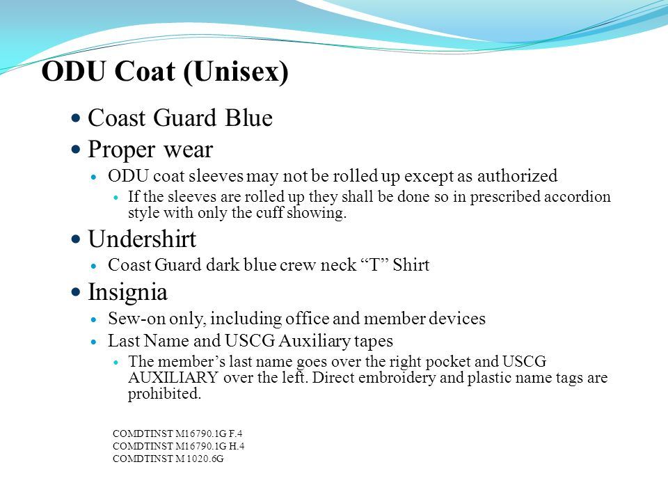 ODU Coat (Unisex) Coast Guard Blue Proper wear Undershirt Insignia