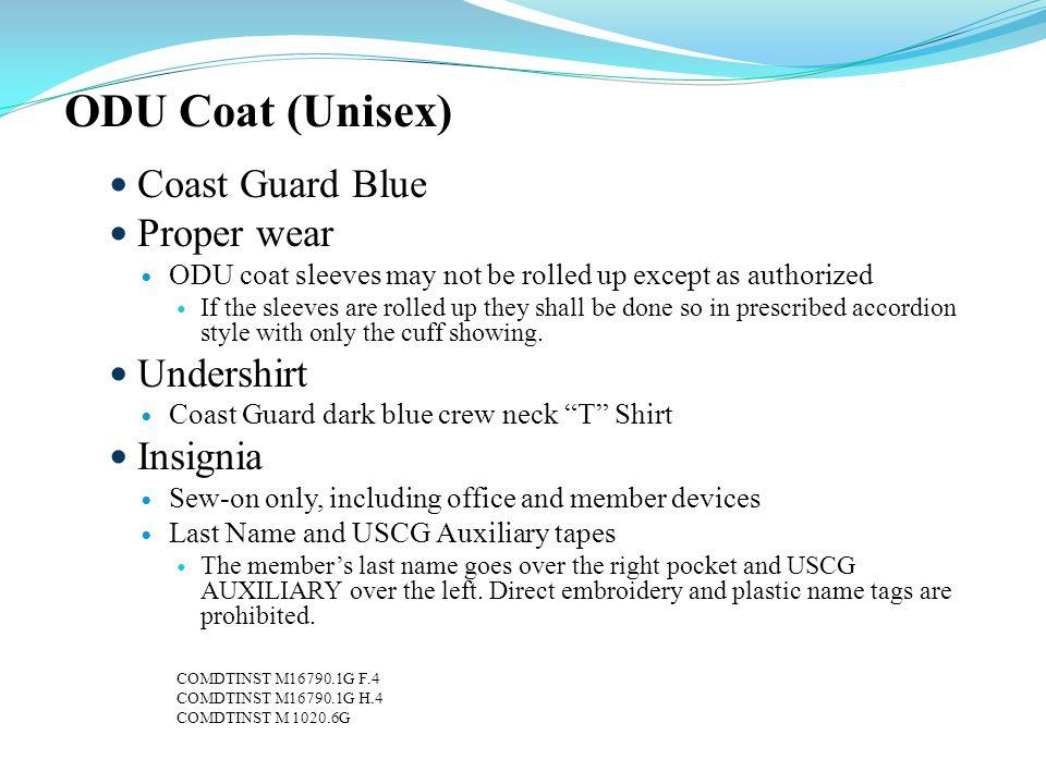 ODU Coat (Unisex) Coast Guard Blue Proper wear Undershirt Insignia