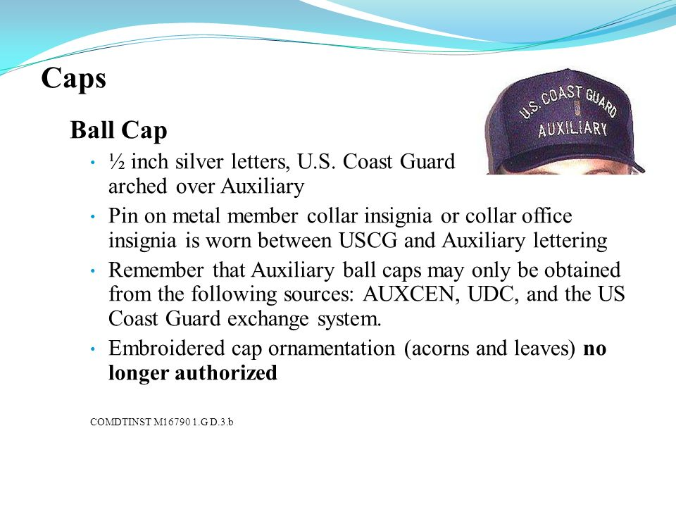 CapsBall Cap. ½ inch silver letters, U.S. Coast Guard arched over Auxiliary.