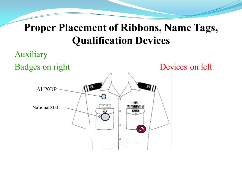 Proper Placement of Ribbons, Name Tags, Qualification Devices
