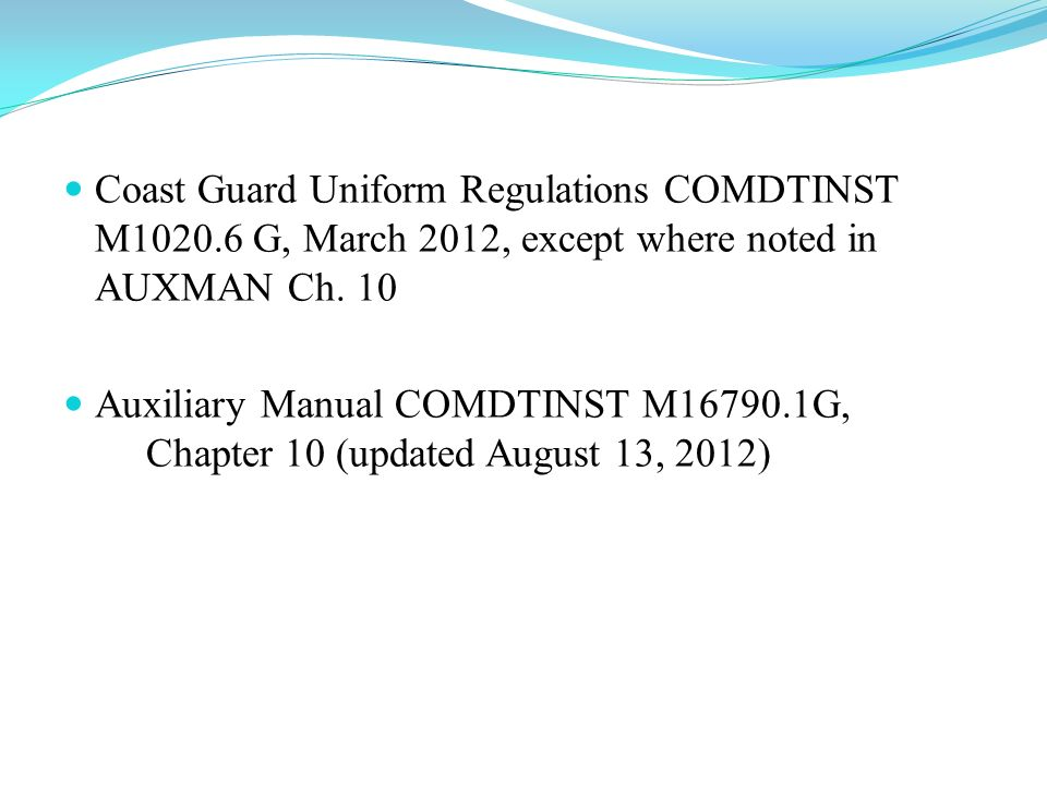 Coast Guard Uniform Regulations COMDTINST M1020