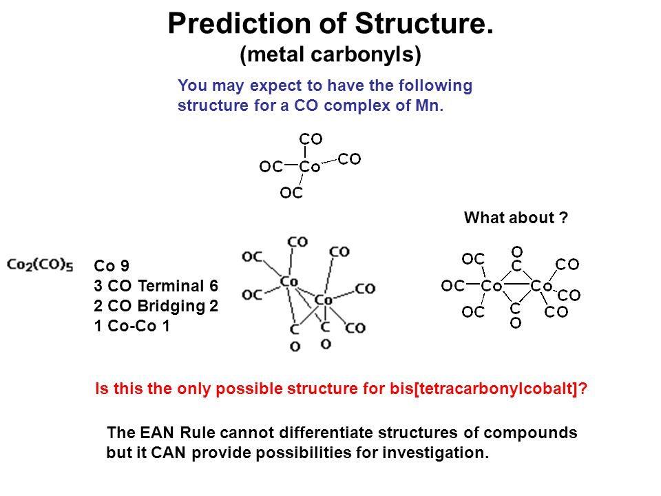 Prediction of Structure. (metal carbonyls)
