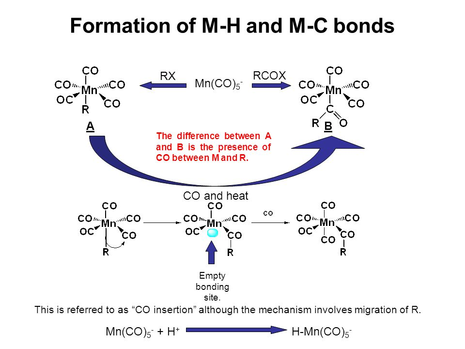 Formation of M-H and M-C bonds