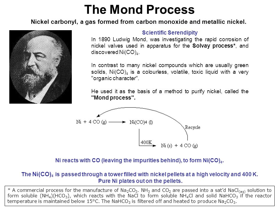 The Mond Process Nickel carbonyl, a gas formed from carbon monoxide and metallic nickel. Scientific Serendipity.