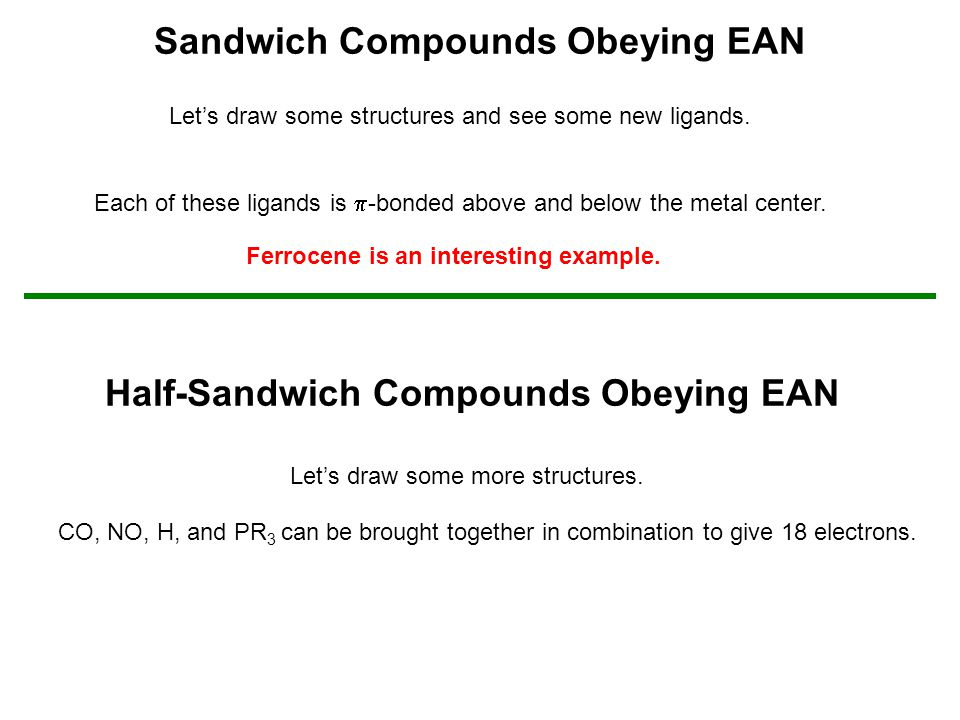 Sandwich Compounds Obeying EAN