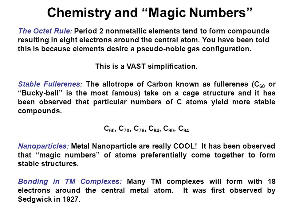 Chemistry and Magic Numbers