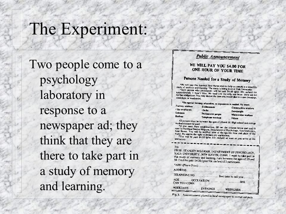 The Experiment: