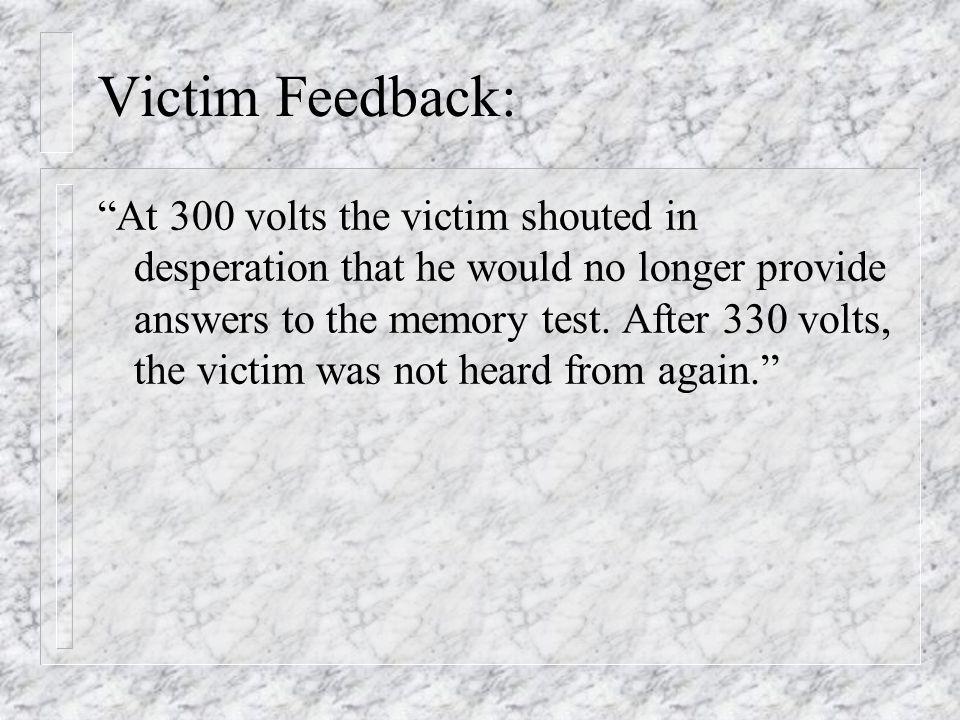 Victim Feedback: