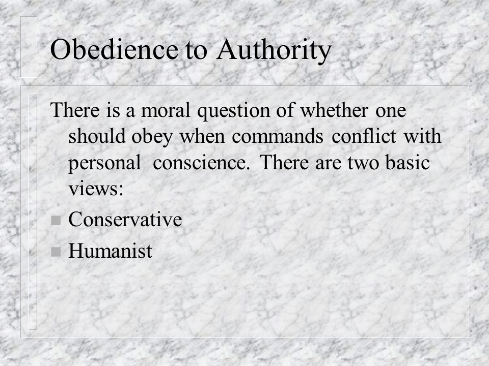 The conflict between obedience to authority and personal conscience