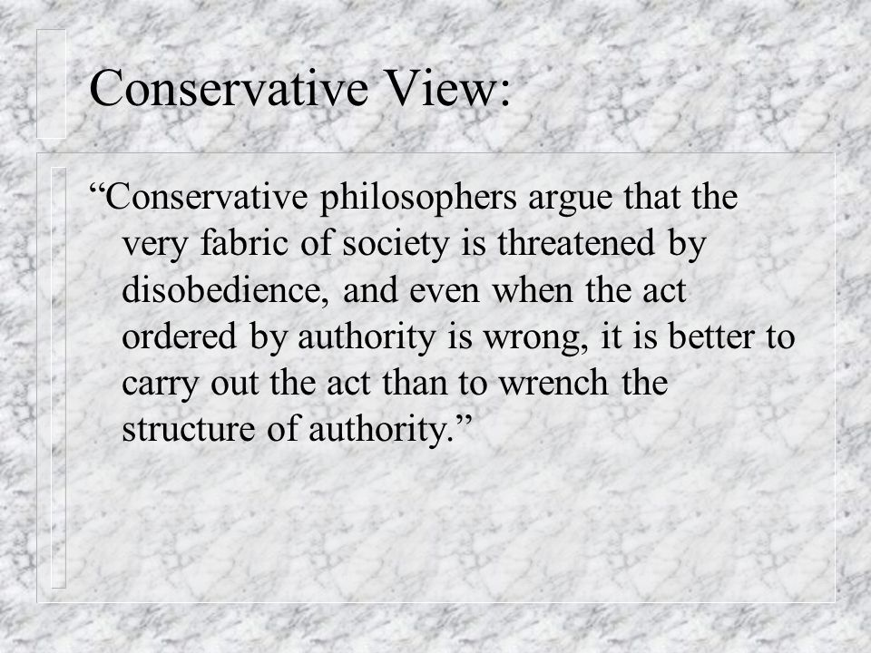 Conservative View:
