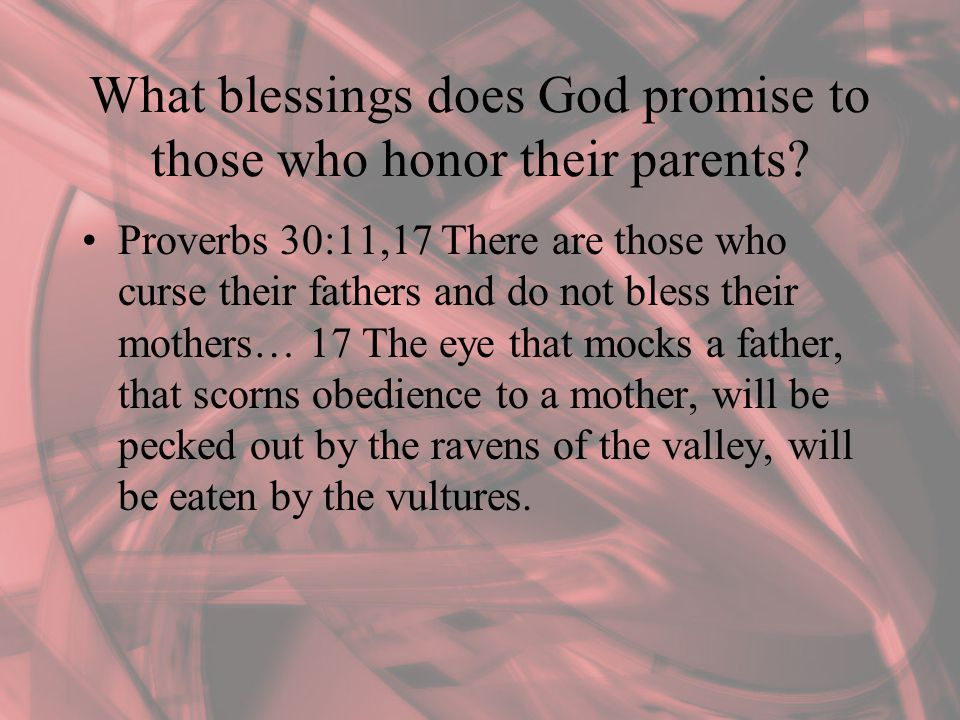 What blessings does God promise to those who honor their parents