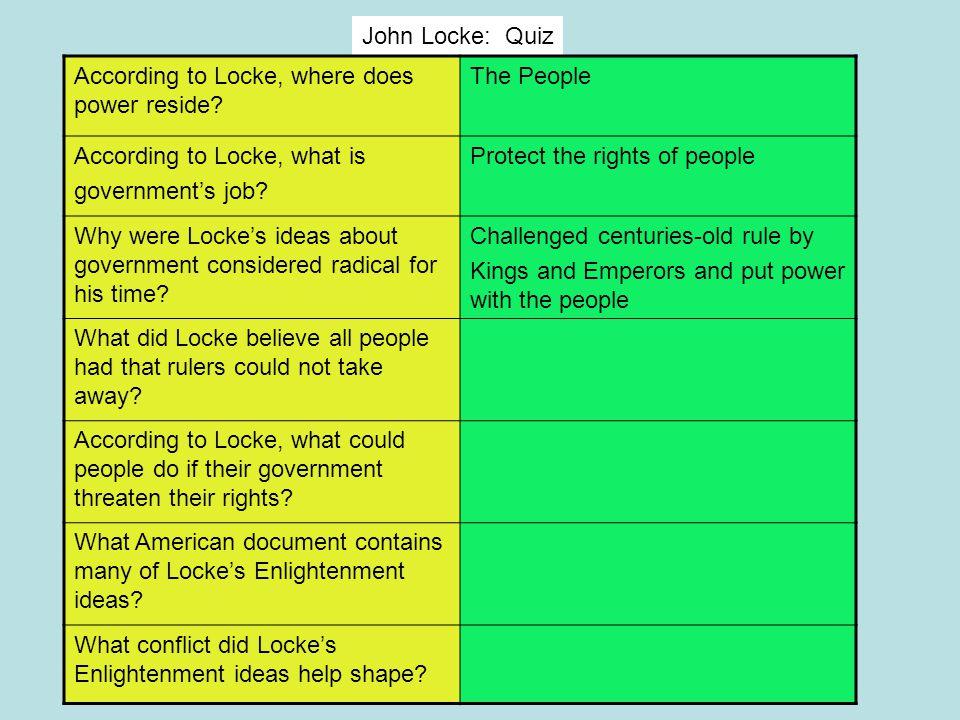 John Locke: Quiz According to Locke, where does power reside The People. According to Locke, what is.