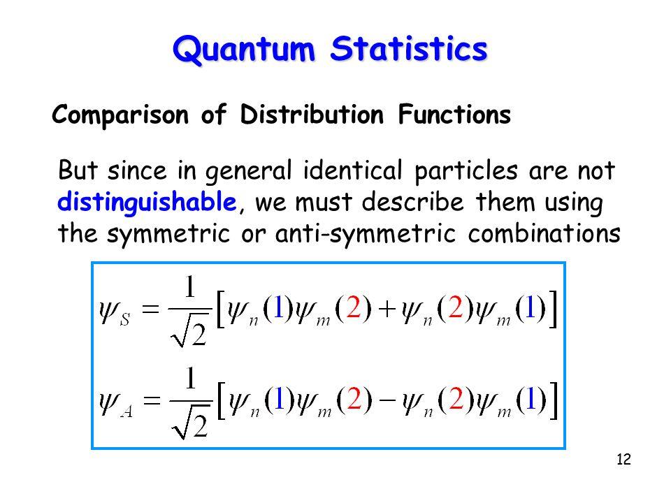 Quantum Statistics Comparison of Distribution Functions