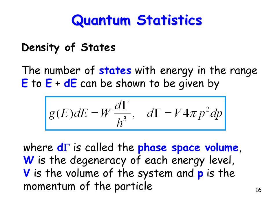 Quantum Statistics Density of States