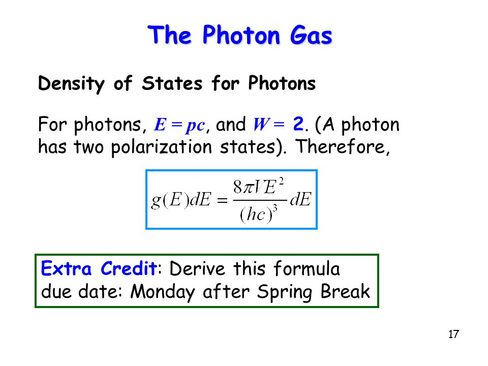 The Photon Gas Density of States for Photons