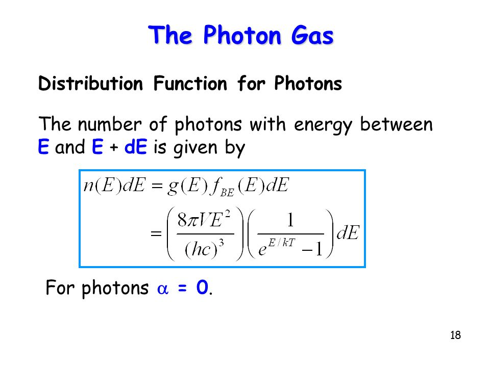 The Photon Gas Distribution Function for Photons