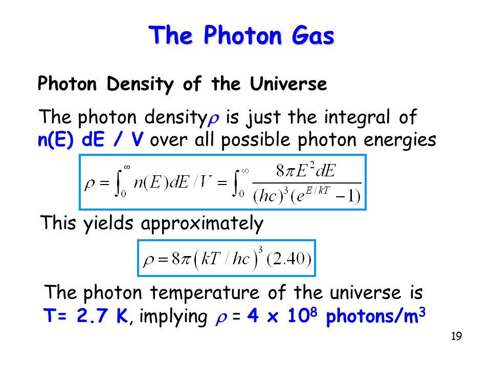 The Photon Gas Photon Density of the Universe