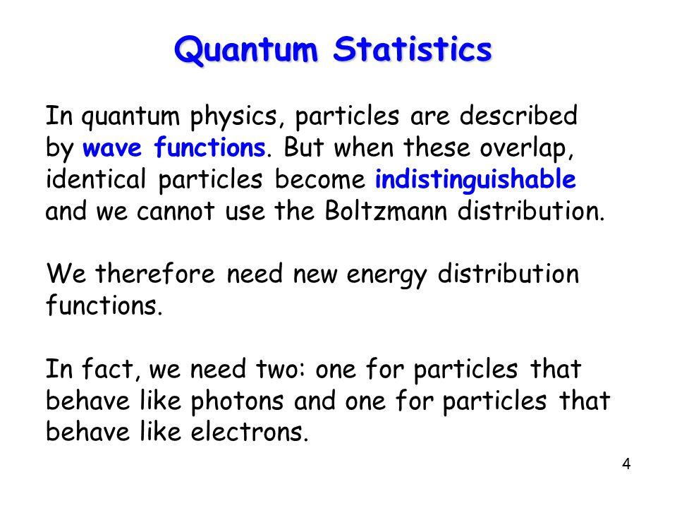 Quantum Statistics In quantum physics, particles are described