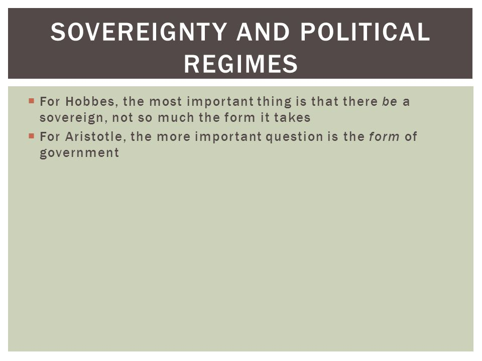 Sovereignty and political regimes