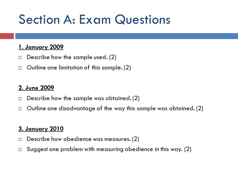 Section A: Exam Questions