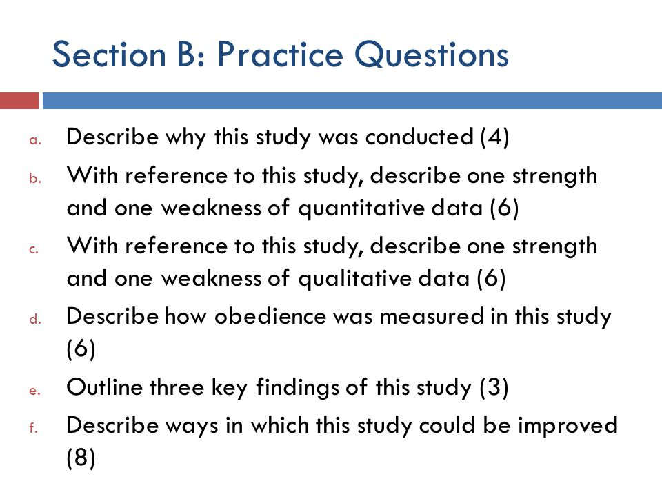 Section B: Practice Questions