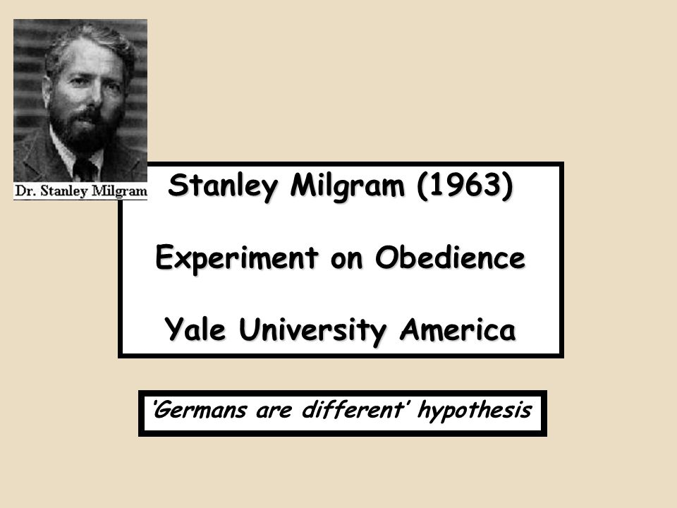 Experiment on Obedience Yale University America