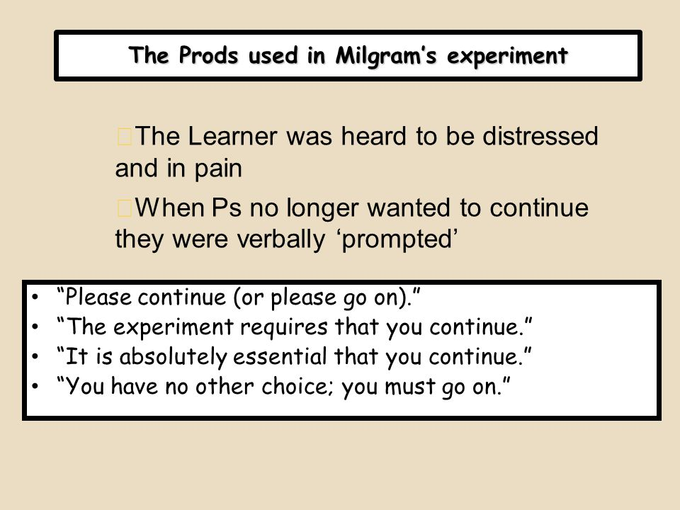The Prods used in Milgram's experiment