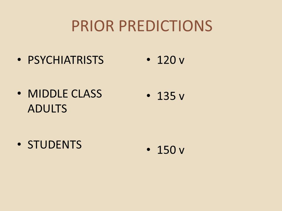 PRIOR PREDICTIONS PSYCHIATRISTS MIDDLE CLASS ADULTS STUDENTS 120 v