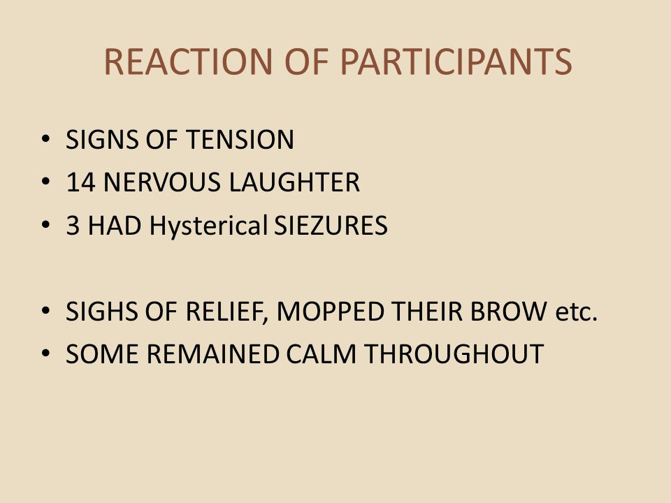 REACTION OF PARTICIPANTS