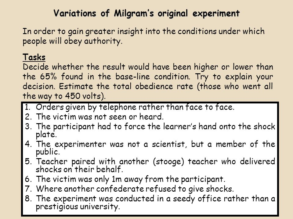 Variations of Milgram's original experiment