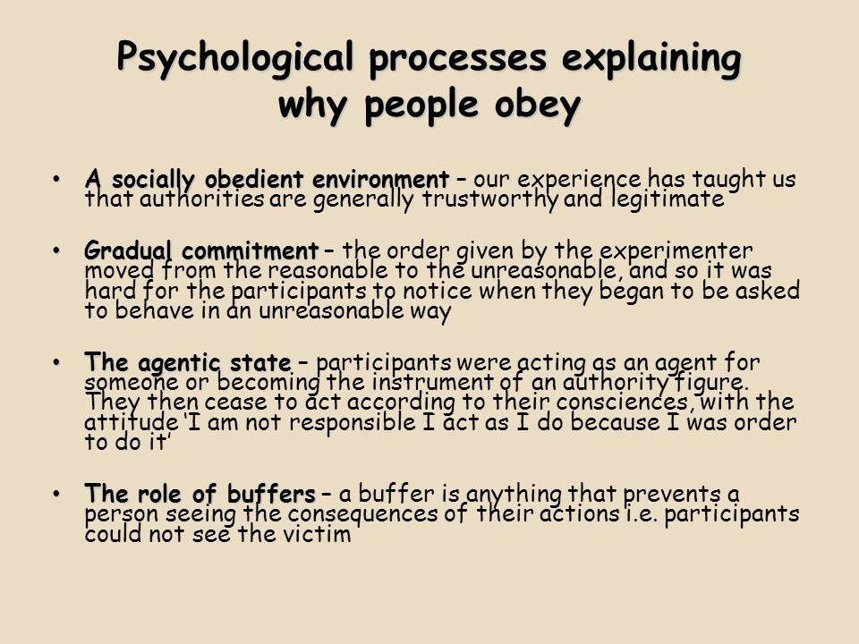 Psychological processes explaining why people obey