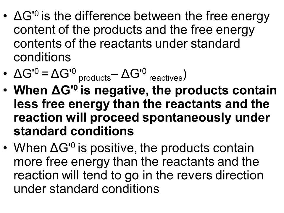 ΔG 0 is the difference between the free energy content of the products and the free energy contents of the reactants under standard conditions