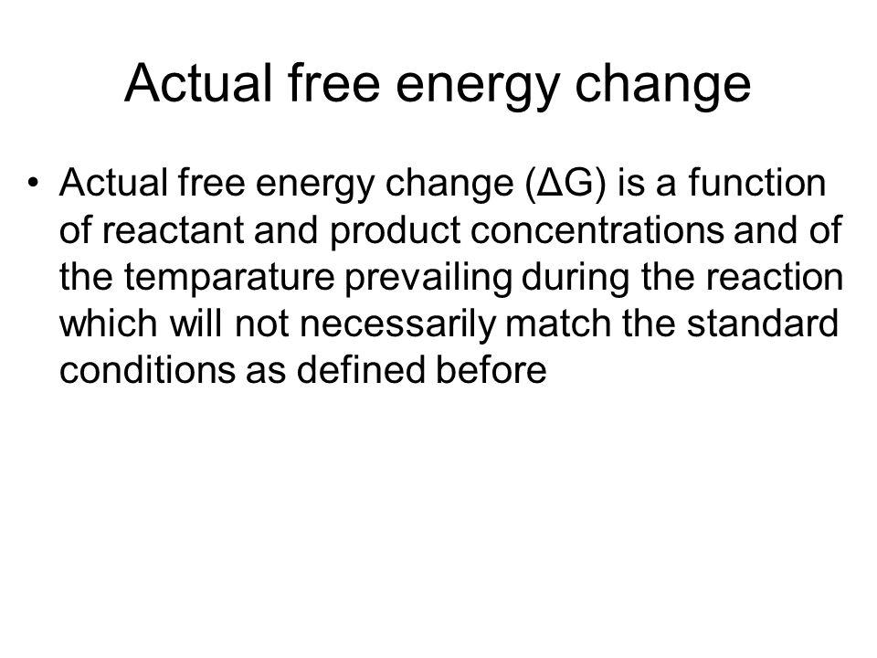 Actual free energy change