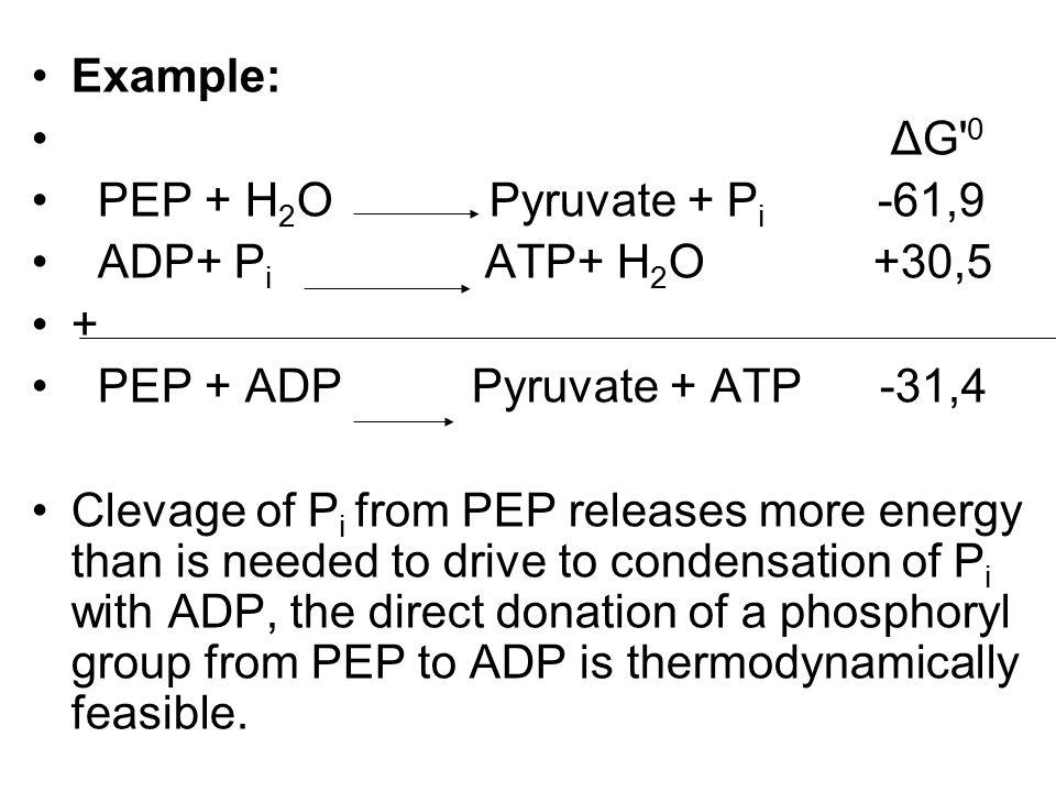 Example: ΔG 0. PEP + H2O Pyruvate + Pi -61,9. ADP+ Pi ATP+ H2O +30,5.