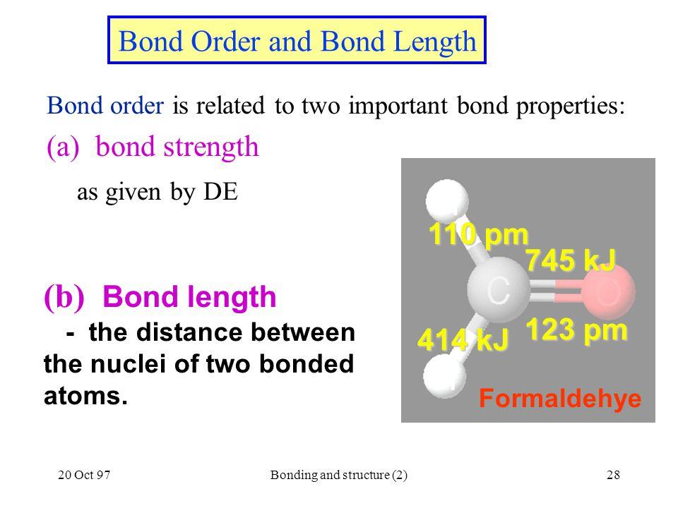 Bond Order and Bond Length