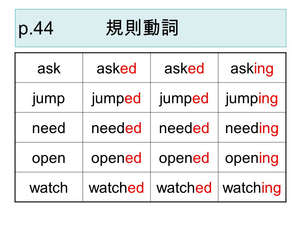 p.44 規則動詞 ask asked asking jump jumped jumping need needed needing